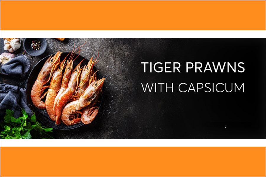 Tiger prawns with Capsicum